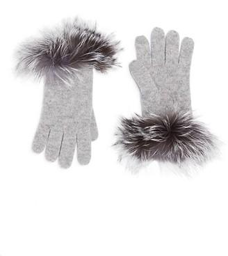 Sofia Cashmere Cashmere & Fox-Fur Trim Touch Screen Knit Gloves