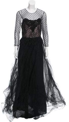 Marchesa Lace Evening Gown