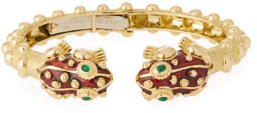 David Webb 18k Gold Baby Frog Cuff Bracelet in Red Enamel
