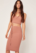 Missguided Pink Petite Exclusive Ribbed Midi Skirt