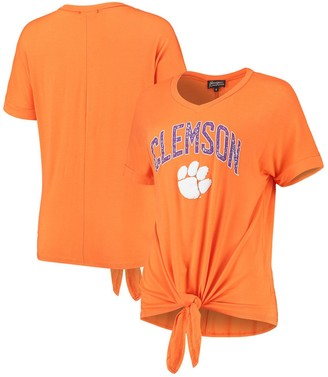 Women's Orange Clemson Tigers On A Break V-Neck Knot T-Shirt