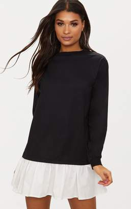 PrettyLittleThing Black Sweater Dress with Poplin Frill