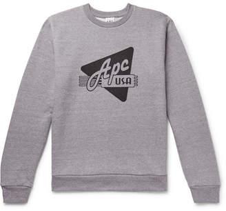A.P.C. Asa Logo-Print Melange Loopback Cotton-Blend Jersey Sweatshirt