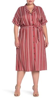ALL IN FAVOR Printed Waist Tie Midi Dress (Plus Size)