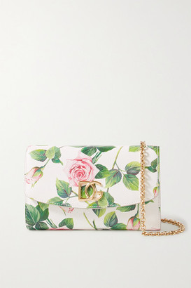Dolce & Gabbana Mini Floral-print Textured-leather Shoulder Bag - White