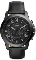 Fossil Grant Chronograph Leather Strap Watch, Black