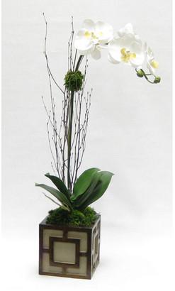 Bougainvillea Artificial Orchid In Mini Wooden Square Container