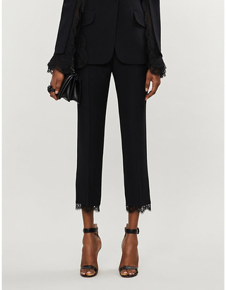 Alexander McQueen Lace-trimmed straight-leg high-rise crepe trousers