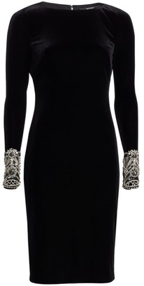 Badgley Mischka Long Sleeve Beaded Cuff Sheath Dress