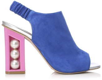 Moda In Pelle Seashell Cobalt Blue Suede