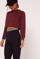 Missguided Petite Exclusive Raglan Sleeve Crop Raw Hem Sweatshirt Burgundy