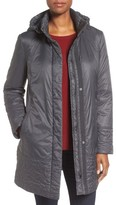 Larry Levine Women's Trapunto Trim A-Line Coat