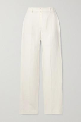 Nili Lotan Atwater Linen And Silk-blend Straight-leg Pants - Ivory
