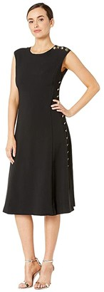 Maggy London Mystic Crepe Fit and Flare Dress with Side Button Detail (Black) Women's Dress