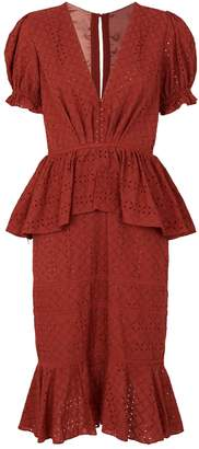 Johanna Ortiz Floral Embroidered Tiered Cotton Dress