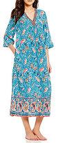 Kate Landry Casuals Paisley Border-Print Challis Patio Dress