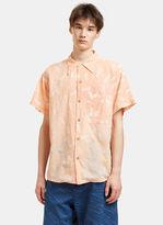 Story Mfg. Men's Shore Print Short Sleeved Shirt In Peach