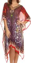 21655 Sakkas Tala Rhinestone Accented Multicolored Sheer Caftan Top / Cover Up - OS