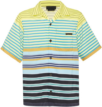 Prada Striped Camp Collar Shirt