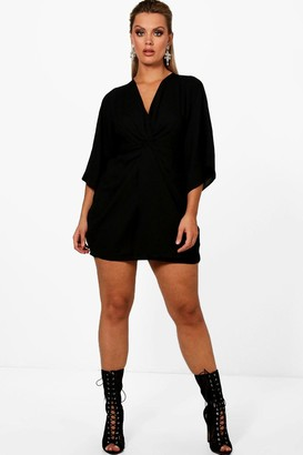 boohoo Plus Knot Detail 3/4 Sleeve Dress