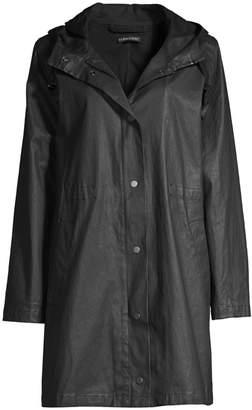 Eileen Fisher Waxed Organic Cotton Hooded Coat
