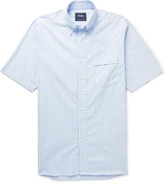 Drakes Button-Down Collar Striped Cotton Oxford Shirt