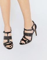 London Rebel Eyelet Strap Heeled Sandals