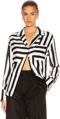 Frame Mix Stripe PJ Blouse in Off White Multi | FWRD