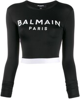 Balmain cropped logo print top