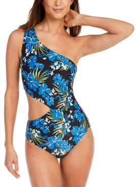 Michael Kors Michael One-Shoulder Logo Cut-Out One-Piece Swimsuit Women's Swimsuit