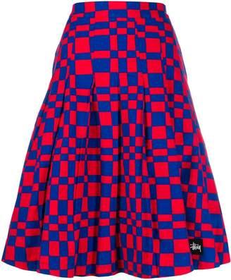 Stussy square print midi skirt