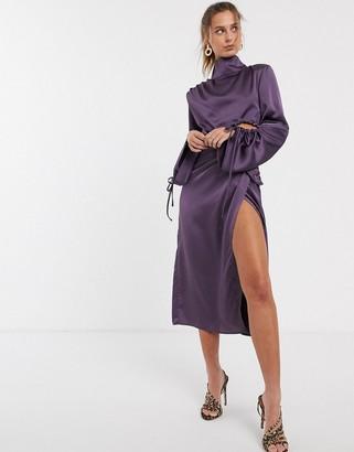 UNIQUE21 Unqiue21 high neck gathered sleeve satin drape dress-Purple