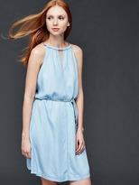 1969 Tencel® denim braid halter dress