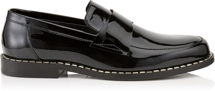 Jimmy Choo BANE Black Patent Leather Loafers with Crystal Trim