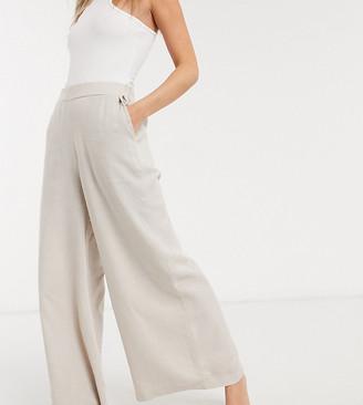 ASOS DESIGN Petite woven wide leg trouser in stone