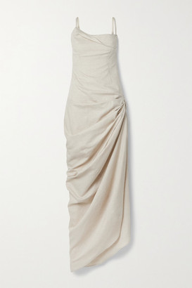 Jacquemus Saudade Ruched Linen And Cotton-blend Maxi Dress - Beige