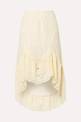 Anna Sui Wild Jasmine Asymmetric Broderie Anglaise Cotton Skirt - Cream