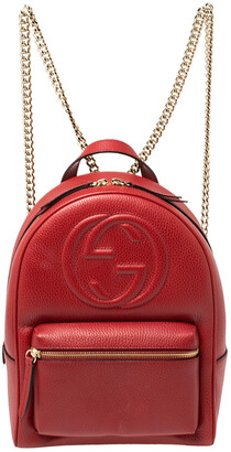 Gucci Red Leather Soho Chain Backpack