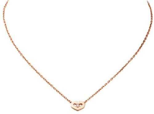 Cartier 18K Rose Gold Heart Diamond Pendant Necklace