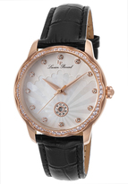 Lucien Piccard Black & Mother-of-Pearl Balarina Leather-Strap Crystal Watch - Women