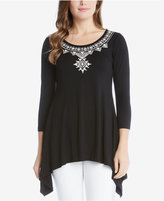 Karen Kane Embroidered Asymmetrical Top