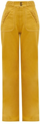 MARC JACOBS, RUNWAY Marc Jacobs Runway - Braided High-rise Flared-leg Jeans - Yellow