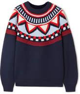 Tory Sport Fair Isle Appliquéd Merino Wool-blend Sweater