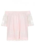 Quiz Pink Bardot Mesh Lace Gypsy Top