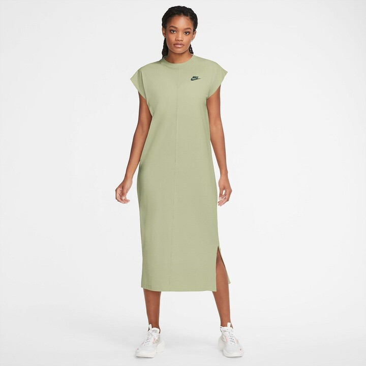 Nike Cotton Midi Shift T-Shirt Dress with Short Sleeves and Logo Print