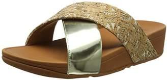 FitFlop Women Lulu Cross Slide Mirror/Cork Open Toe Sandals,37 EU ()