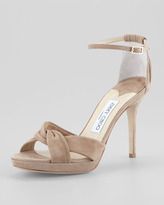 Jimmy Choo Marion Suede Platform Sandal, Nude
