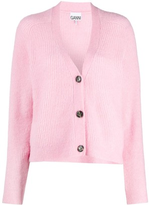 Ganni button front V-neck cardigan