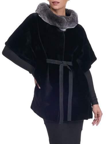 Gorski Sheared Mink Fur Cape with Chinchilla Collar