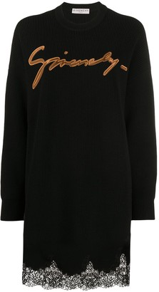 Givenchy Embroidered Logo Lace-Trim Jumper Dress